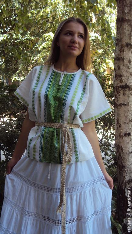 """Одежда ручной работы. Ярмарка Мастеров - ручная работа. Купить блузка """"Зеленые алатыри"""". Handmade. Зеленый, русский стиль"""