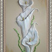 """Панно ручной работы. Ярмарка Мастеров - ручная работа Барельеф 3д панно """"Каллы"""". Handmade."""