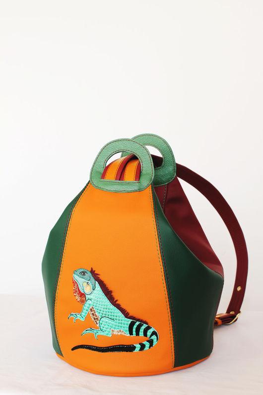"""Женские сумки ручной работы. Ярмарка Мастеров - ручная работа. Купить Сумка-рюкзак """"Игуана"""". Handmade. Рыжий, рюкзак кожаный"""