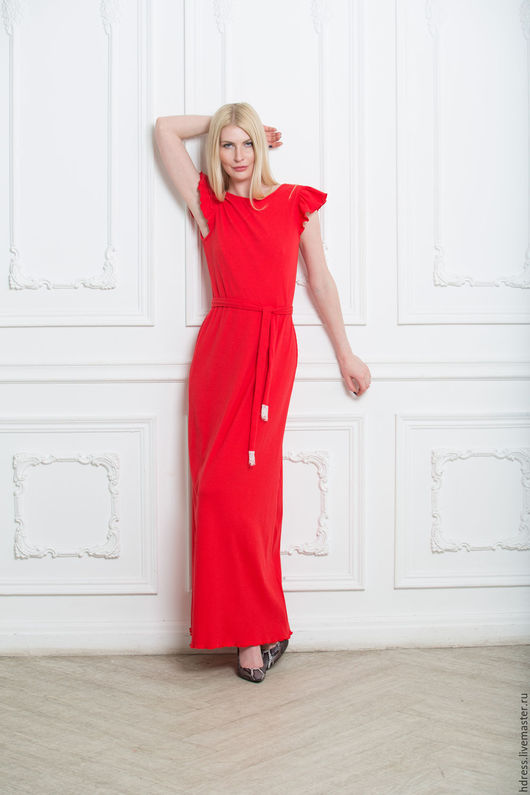 """Платья ручной работы. Ярмарка Мастеров - ручная работа. Купить Длинное платье из трикотажа с кружевом """"Таис"""" красное. Handmade."""