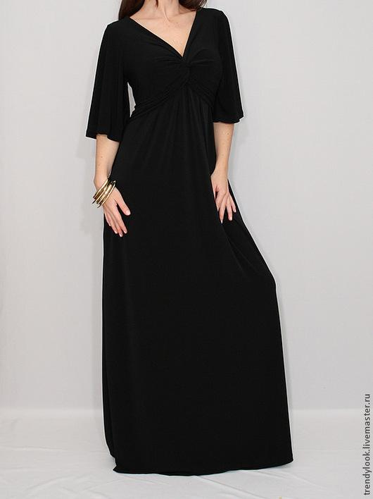 Платья ручной работы. Ярмарка Мастеров - ручная работа. Купить Черное длинное платье в пол, короткий рукав. Handmade. handmade