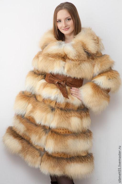 Верхняя одежда ручной работы. Ярмарка Мастеров - ручная работа. Купить Шуба-платье из лисы. Handmade. Рыжий, шуба
