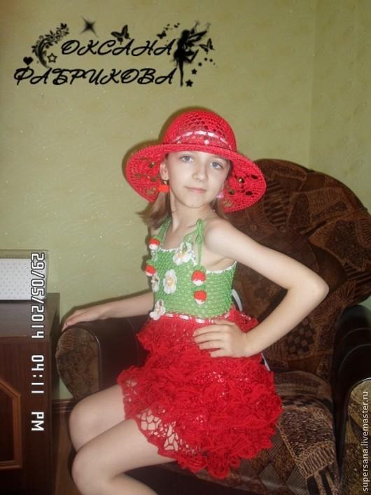 Одежда для девочек, ручной работы. Ярмарка Мастеров - ручная работа. Купить Сарафан ,шляпка и сумочка Клубничка для девочки. Handmade. клубничка