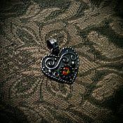 """Украшения ручной работы. Ярмарка Мастеров - ручная работа Кулон """"Горящее Сердце"""" серебро, эфиопский опал. Handmade."""
