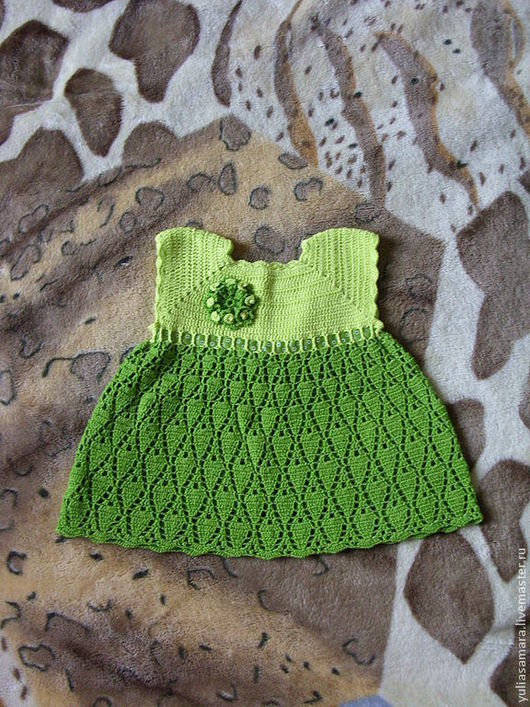 """Одежда для девочек, ручной работы. Ярмарка Мастеров - ручная работа. Купить Платье """"Весна"""". Handmade. Зеленый, крючком, Вязание крючком"""