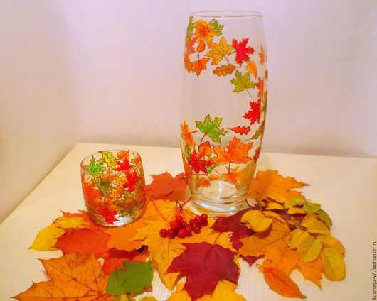"""Вазы ручной работы. Ярмарка Мастеров - ручная работа. Купить Ваза """"Осенняя сказка"""". Handmade. Комбинированный, зеленый, тепло, стекло"""