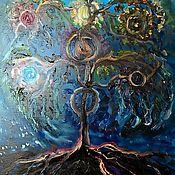 Картины и панно ручной работы. Ярмарка Мастеров - ручная работа Картина маслом  Иггдрасиль- дерево жизни. Handmade.