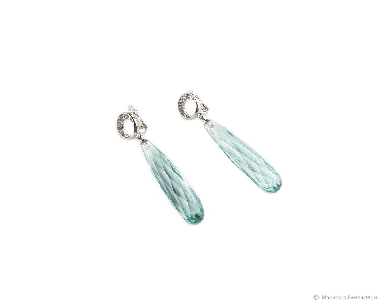 Silver earrings with green amethyst long earrings, drop, Earrings, Moscow,  Фото №1