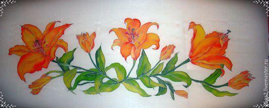 """Картины цветов ручной работы. Ярмарка Мастеров - ручная работа. Купить Панно """"Лилии"""" батик. Handmade. Разноцветный, лилии, панно"""