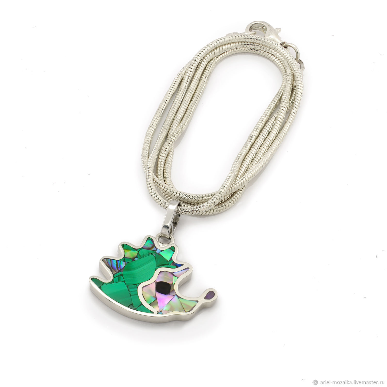 Pendant hedgehog. Malachite and mother of pearl. Pendant handmade, Pendant, Moscow,  Фото №1