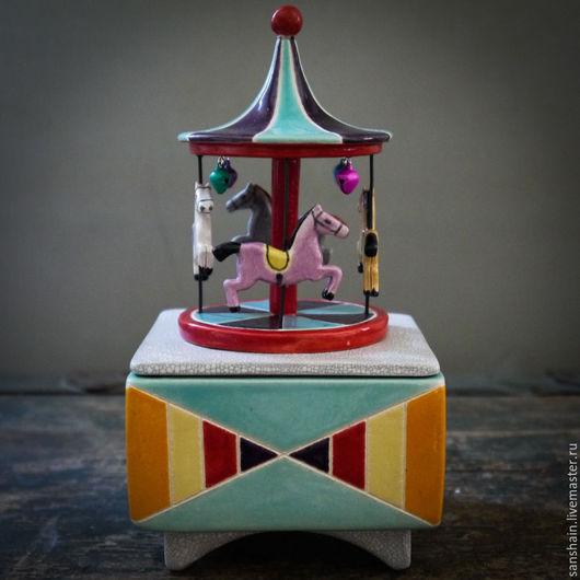 """Шкатулки ручной работы. Ярмарка Мастеров - ручная работа. Купить Шкатулка """" карусель """". Handmade. Разноцветный, керамика"""