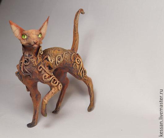 """Статуэтки ручной работы. Ярмарка Мастеров - ручная работа. Купить Статуэтка """"Терракотовая ориентальная кошка"""". Handmade. Талисман, кошачий"""