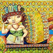 Картины и панно ручной работы. Ярмарка Мастеров - ручная работа картина маслом На диване. Handmade.