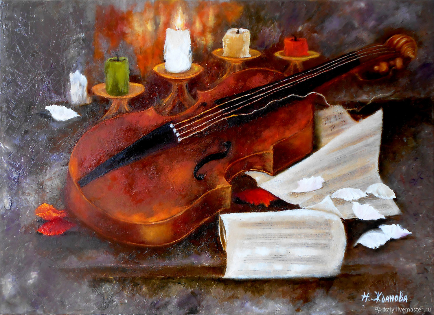 Violin still life painting oil on canvas original artwork, Pictures, St. Petersburg,  Фото №1