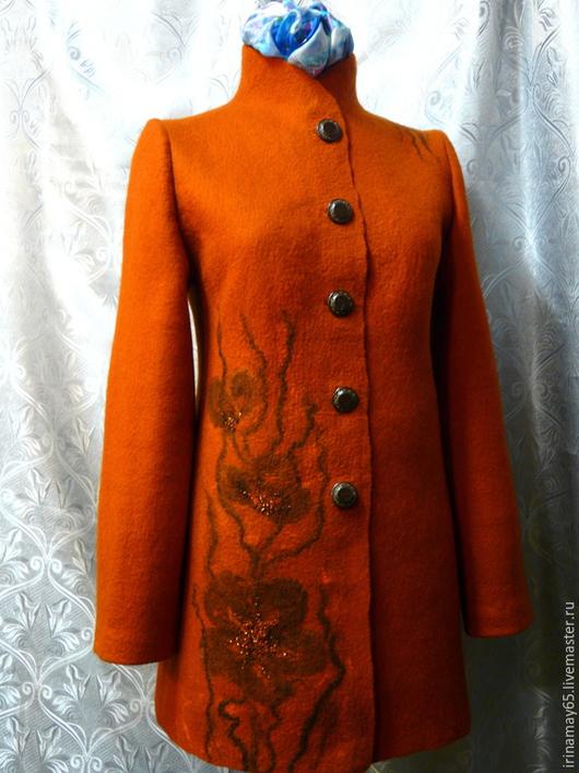 """Верхняя одежда ручной работы. Ярмарка Мастеров - ручная работа. Купить Пальто """" Ружене """". Handmade. Оранжевый"""
