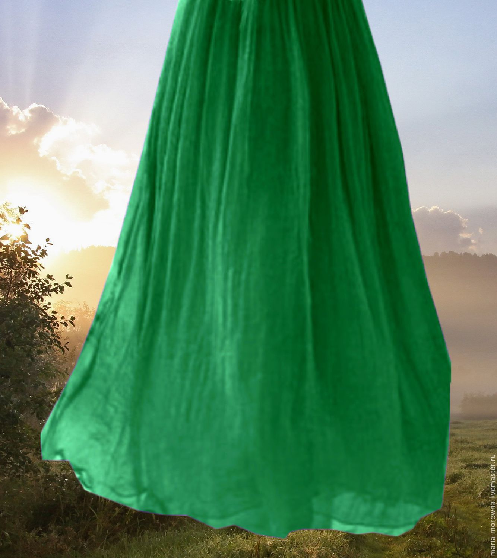 Длинная юбка изумрудная