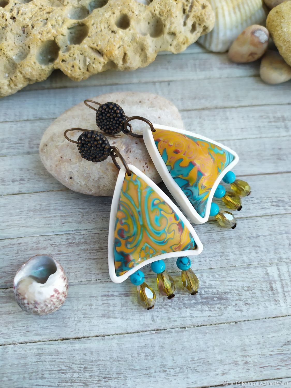 earrings from polymer clay. Surf. Boho earrings, Earrings, Zelenograd,  Фото №1