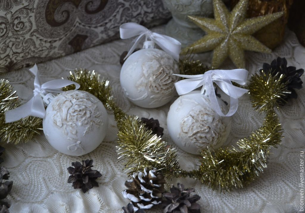 Christmas toys, balls in the style of shabby - chic 3 pieces, Christmas decorations, Moscow,  Фото №1