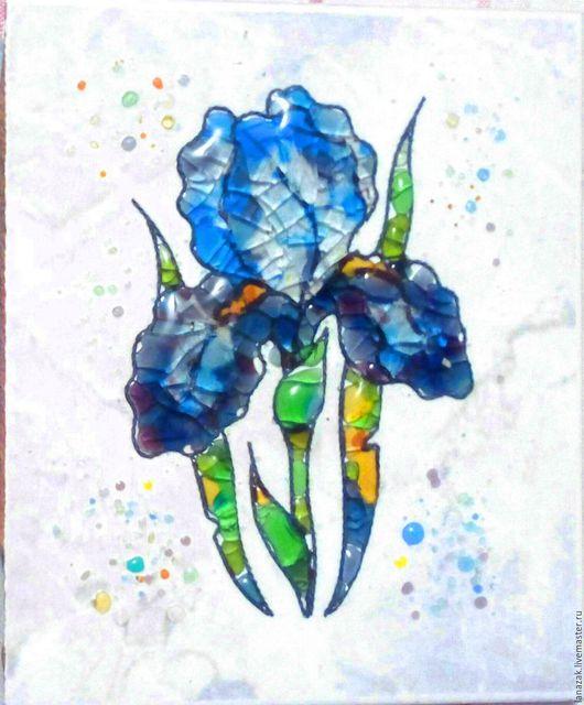 Картины цветов ручной работы. Ярмарка Мастеров - ручная работа. Купить Панно из стекла на керамике Голубой ирис. Фьюзинг.. Handmade.