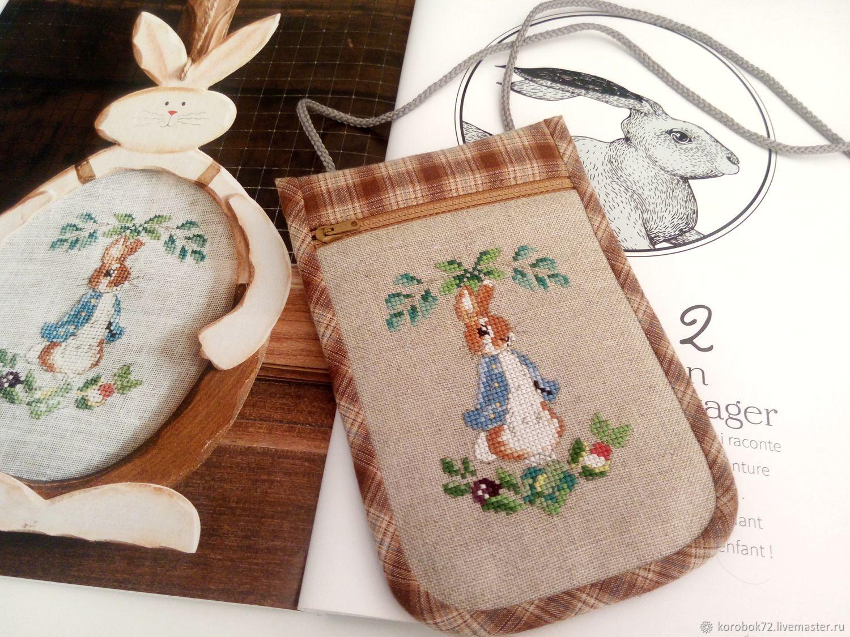 Zipper phone case cross stitch Bunny, Case, St. Petersburg,  Фото №1