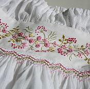 Платья ручной работы. Ярмарка Мастеров - ручная работа Платье с ручной вышивкой рококо, белое, хлопковое, выпускной. Handmade.