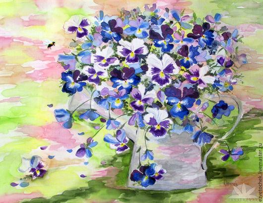 Картины цветов ручной работы. Ярмарка Мастеров - ручная работа. Купить Шмель. Handmade. Синий, батик панно, натуральный шёлк