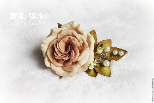 Заколки ручной работы. Ярмарка Мастеров - ручная работа. Купить Винтажная заколка закрученная роза. Handmade. Кремовый, заколка, винтаж