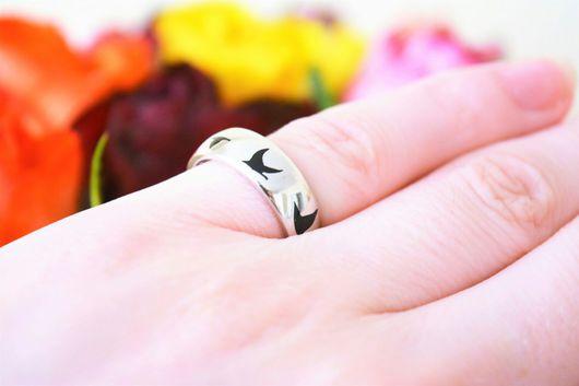 """Кольца ручной работы. Ярмарка Мастеров - ручная работа. Купить Кольцо """"Полет""""(глянцевое)серебро 925,  эмаль. Handmade. Кольцо, широкое кольцо"""