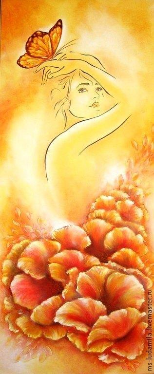 """Фантазийные сюжеты ручной работы. Ярмарка Мастеров - ручная работа. Купить Картина """"Летняя Аврора"""". Handmade. Желтый, люди, акрил"""