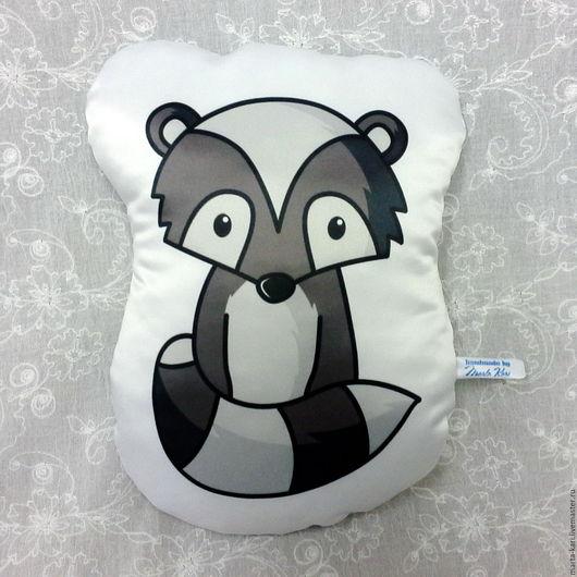 подушка - игрушка, енот, подарок, интерьер детской