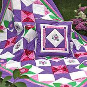 Для дома и интерьера ручной работы. Ярмарка Мастеров - ручная работа Лоскутное одеяло и подушка  Фиалетовая сказка. Handmade.