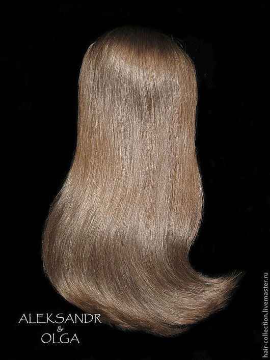 НАКЛАДКА затылочная - M для Волос  на заколках - постиж, русый (из натуральных волос).