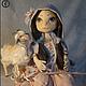 Коллекционные куклы ручной работы. Ярмарка Мастеров - ручная работа. Купить Текстильная кукла Лира и козочка Матильда. Handmade. Кремовый