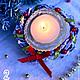 Подсвечник из гипса с натуральными веточками березы `Новогодний венок`.  1 штука в наличии