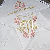 Работы для детей, handmade. Livemaster - original item Linen christening set for girls with embroidery. art.002. Handmade.
