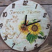 Для дома и интерьера ручной работы. Ярмарка Мастеров - ручная работа часы настенные желтый зеленый  цветок, русская деревня. Handmade.
