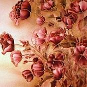 """Картины и панно ручной работы. Ярмарка Мастеров - ручная работа Картина  на атласе"""" Пионы и маки"""". Handmade."""