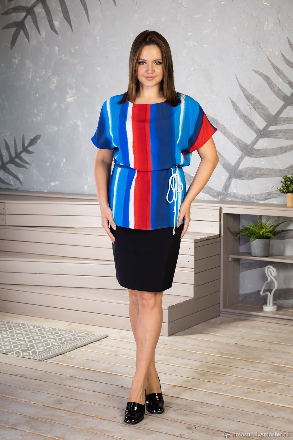 Bright viscose blouse with a drawstring, Blouses, Novosibirsk,  Фото №1