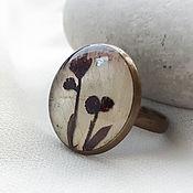 Украшения handmade. Livemaster - original item Ring and earrings made of epoxy resin with real flowers Limbaugh. Handmade.