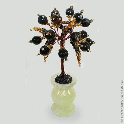 Миниатюрное дерево любви из шпинеля в вазочке из оникса