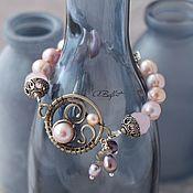 """Bead bracelet handmade. Livemaster - original item Браслет из нейзильбера с натуральным жемчугом """"Разгадывающая сны"""". Handmade."""