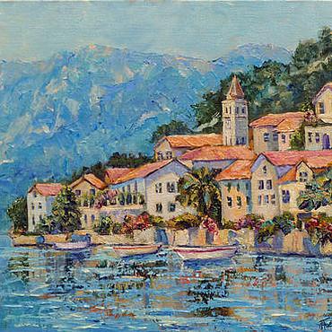 Картины и панно ручной работы. Ярмарка Мастеров - ручная работа Картина пейзаж море горы город, южный пейзаж, заказать картину. Handmade.