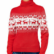 """Одежда ручной работы. Ярмарка Мастеров - ручная работа Свитер """"норвежские олени"""" красный. Handmade."""