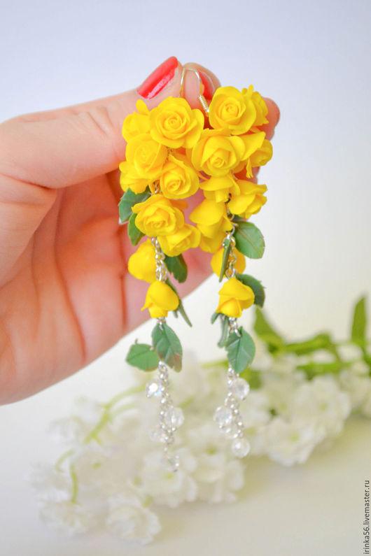 """Серьги ручной работы. Ярмарка Мастеров - ручная работа. Купить Серьги """" Желтые розы"""". Handmade. Желтый, серьги длинные"""