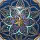 Тарелки ручной работы. Ярмарка Мастеров - ручная работа. Купить Тарелка декоративная  Золотой Лотос. Handmade. Синий, бирюзовый, акрил