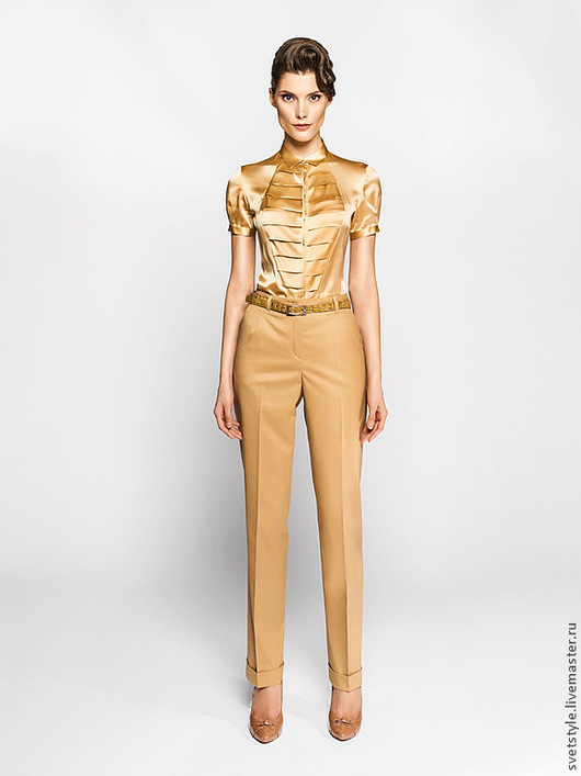 Красивая бежевая блузка на заказ. Ярмарка Мастеров - ручная работа. Пошив на заказ. Купить блузку. Дизайнер Лана Морозова.