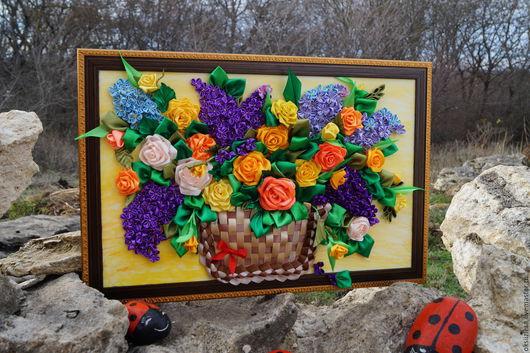 Картины цветов ручной работы. Ярмарка Мастеров - ручная работа. Купить Сирень. Handmade. Цветы ручной работы, атласные ленты