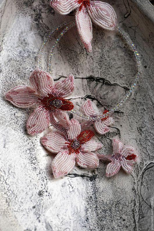 Колье, бусы ручной работы. Ярмарка Мастеров - ручная работа. Купить Орхидея. Handmade. Розовый, бусины для украшений