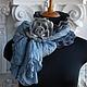 Шарфы и шарфики ручной работы. Заказать Валяный шарф серый с розой. Авторская одежда и аксессуары.Эмма.. Ярмарка Мастеров. Шарф