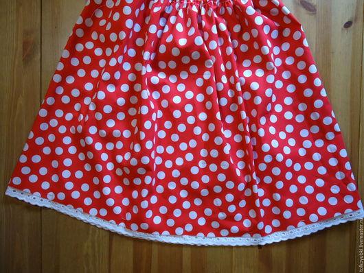 Одежда для девочек, ручной работы. Ярмарка Мастеров - ручная работа. Купить Юбка для девочки в горошек американский хлопок Мухоморчик. Handmade.